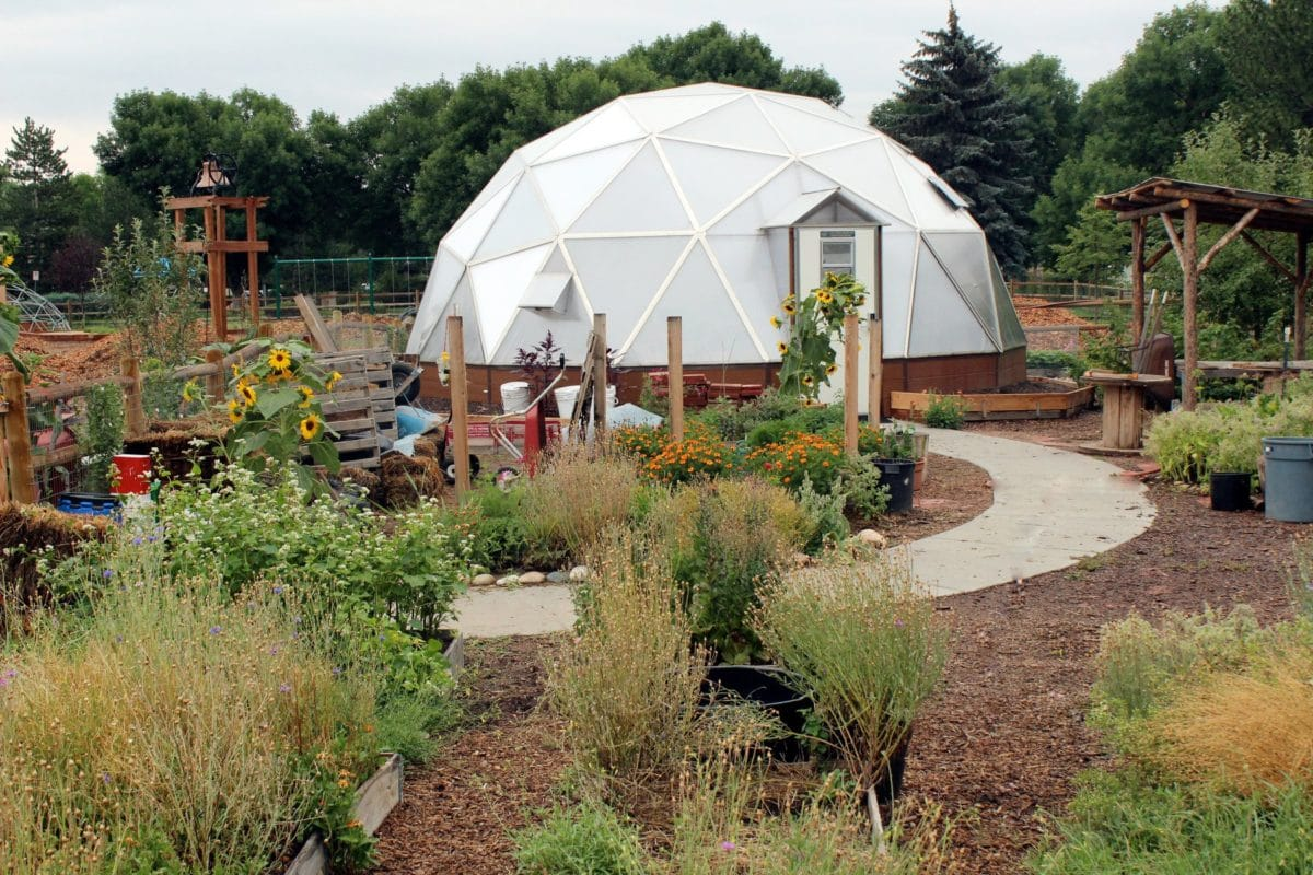 Geodesic dome in the garden